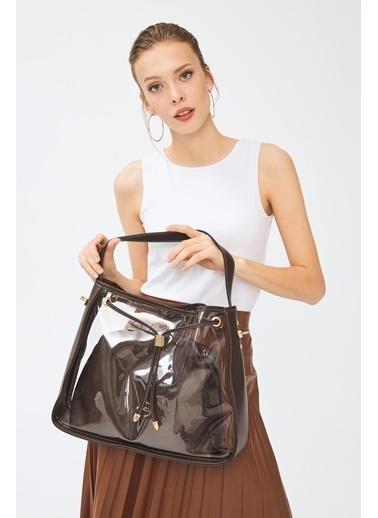 Deri Company Kadın Basic Omuz Çanta Transparan Düz Desen Logolu Kahverengi (4032Kk) 214025 Kahve